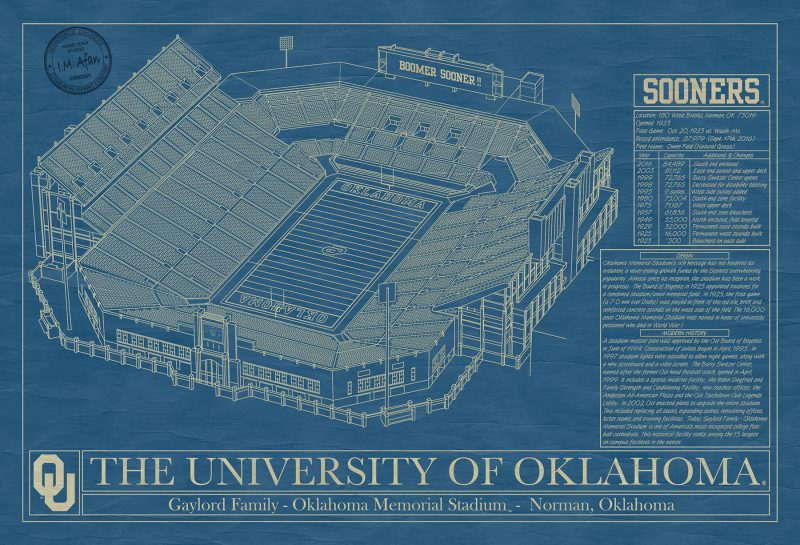 Oklahoma - Gaylord Family Oklahoma Memorial Stadium - Blueprint Art