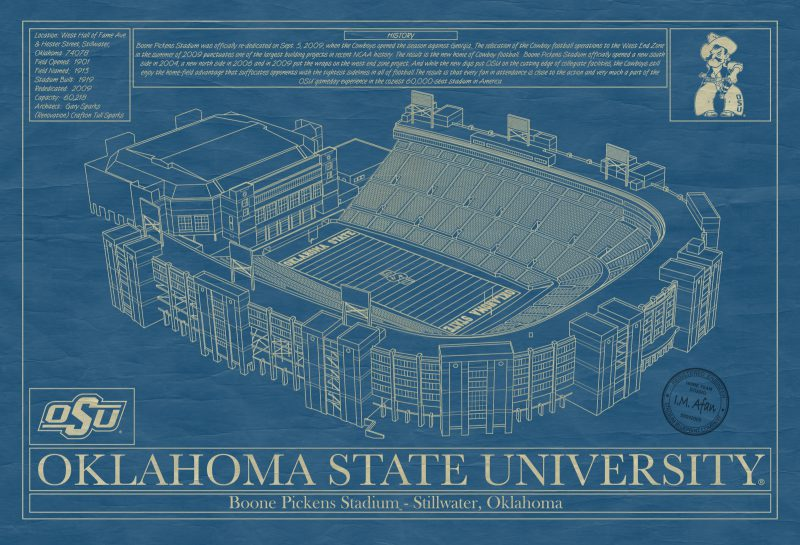Oklahoma State University - Boone Pickens Stadium Blueprint
