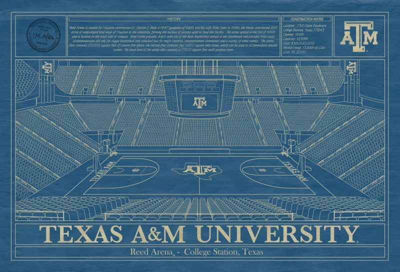 Texas A&M University - Reed Arena Blueprint