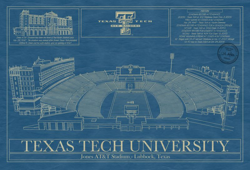 Texas Tech University - Jone AT&T Stadium Blueprint