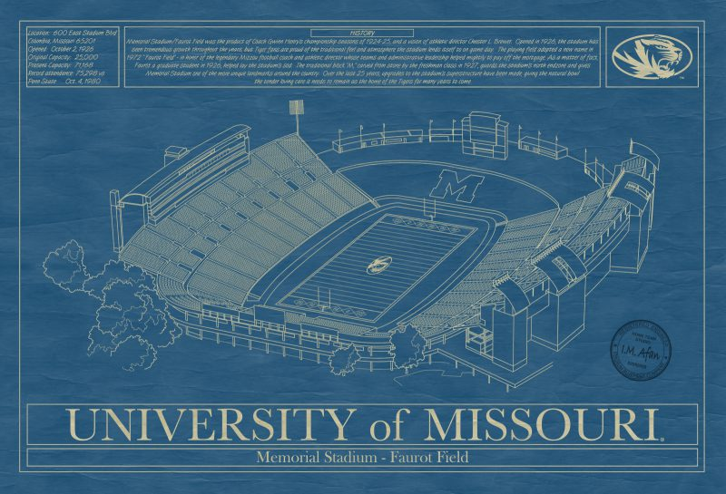 University of Missouri - Faurout Field at Memorial Stadium Blueprint