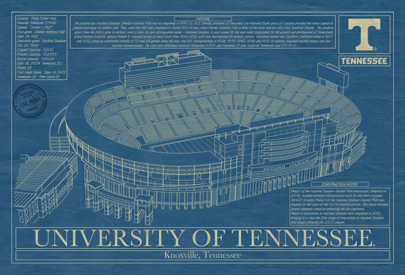 University of Tennessee - Neyland Stadium Blueprint