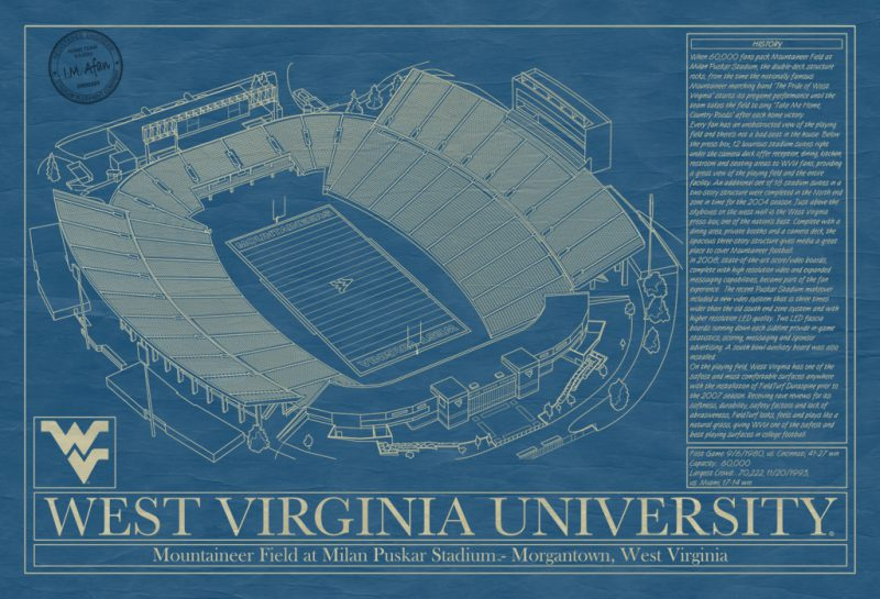 West Virginia University - Mountaineer Field at Milan Pusker Stadium Blueprint