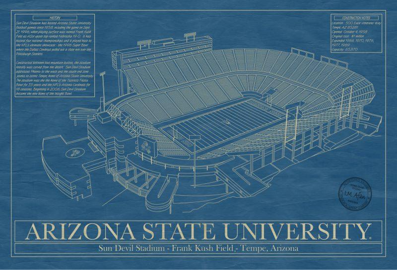 Arizona State University - Sun Devil Stadium - Blueprint Art