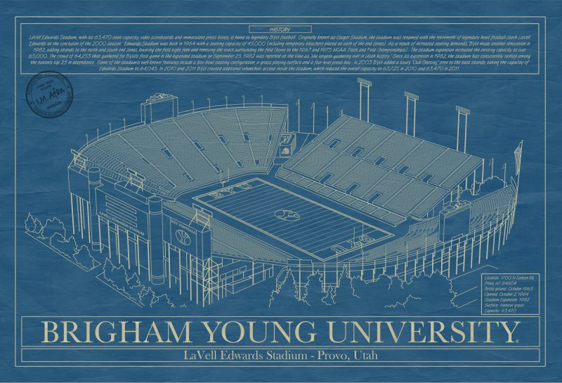 Brigham Young University - LaVell Edwards Stadium Blueprint