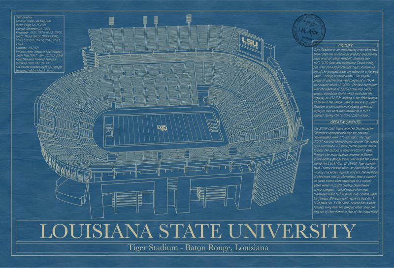 Louisiana State University - Tiger Stadium - Blueprint Art