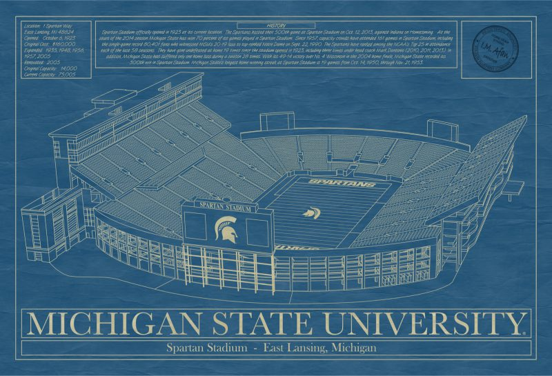 Michigan State University - Spartan Stadium - Blueprint Art