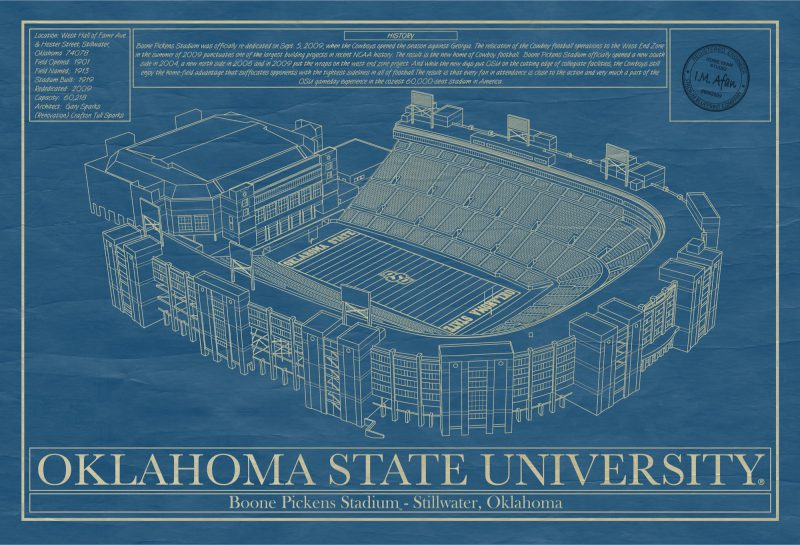 Oklahoma State University - Boone Pickens Stadium - Blueprint Art