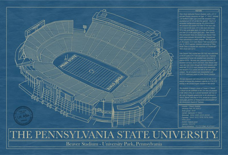 Pennsylvania State University - Beaver Stadium - Blueprint Art