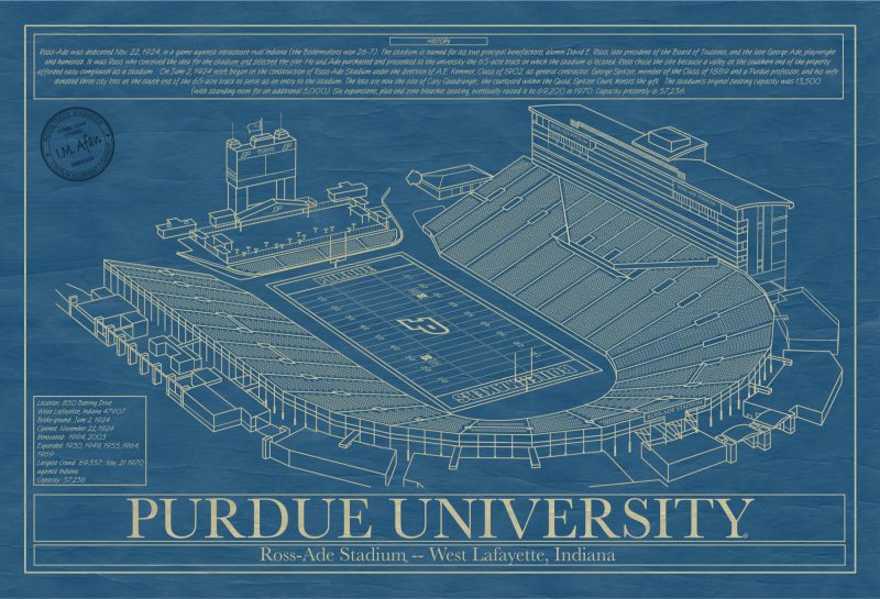 Purdue University - Ross-Ade Stadium Blueprint Art