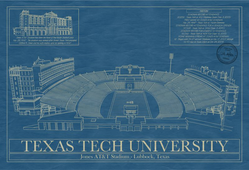 Texas Tech University - Jones AT&T Stadium - Blueprint Art