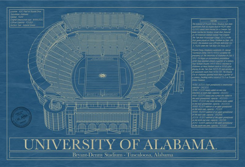 Alabama - Bryant-Denny Stadium - Blueprint Art