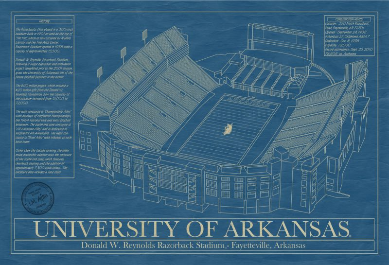 University of Arkansas - Donald W. Reynolds Razorback Stadium Blueprint