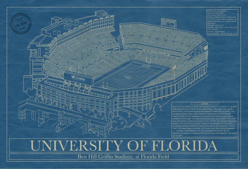 Florida - Ben Hill Griffin Stadium - Blueprint Art