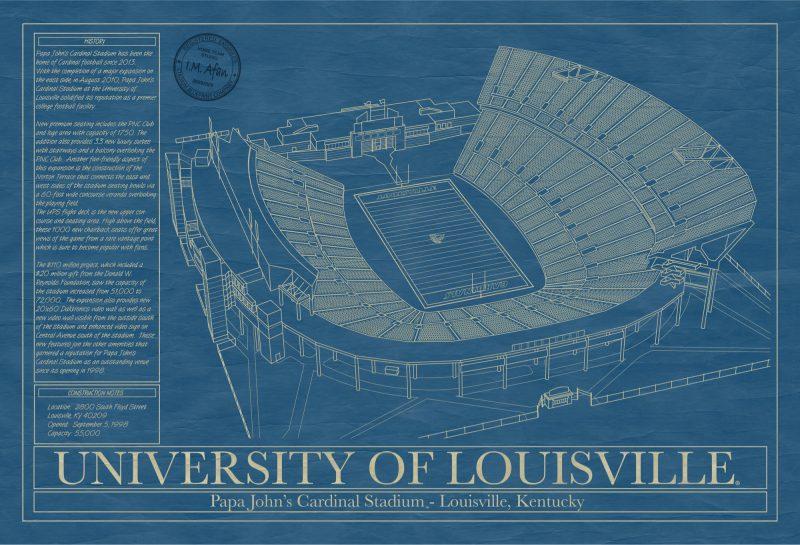 University of Louisville - Cardinal Stadium - Blueprint Art
