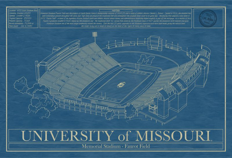 Missouri - Faurot Field at Memorial Stadium -Blueprint Art