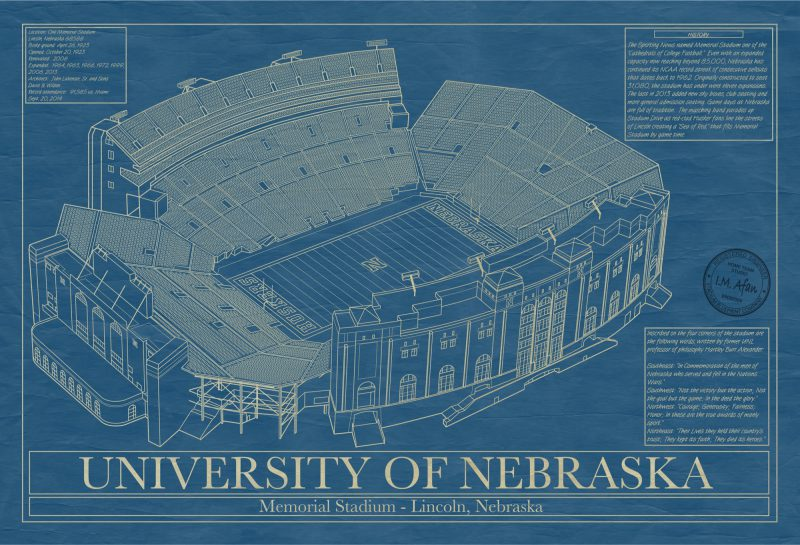 University of Nebraska - Memorial Stadium Lincoln Blueprint