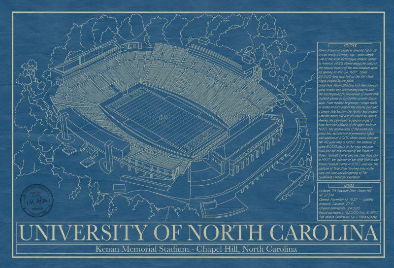 University of North Carolina - Kenan Memorial Stadium - Blueprint Art