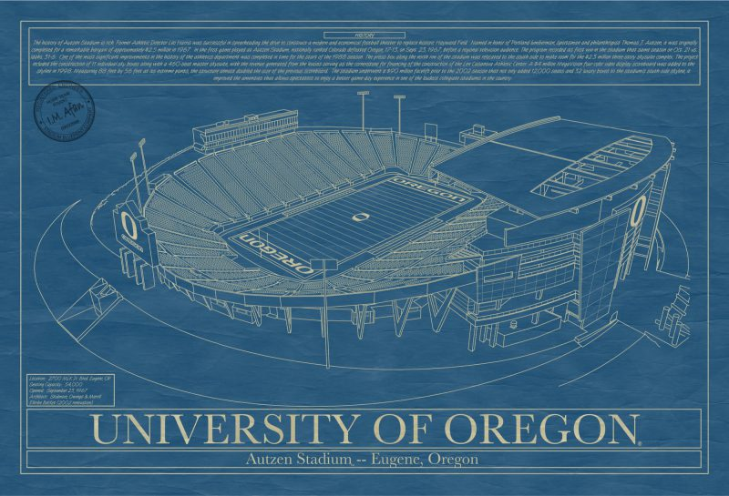University of Oregon - Autzen Stadium - Blueprint Art