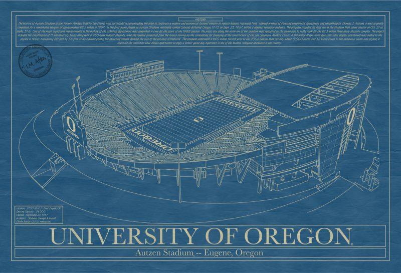University of Oregon - Autzen Stadium - Blueprint Art
