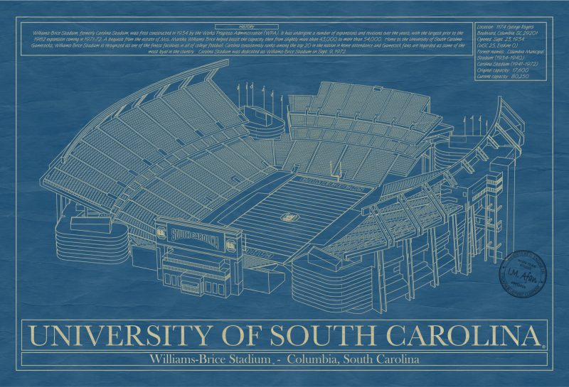 South Carolina - Williams-Brice Stadium - Blueprint Art