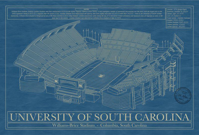 South Carolina - Williams-Brice Stadium - Blueprint Art