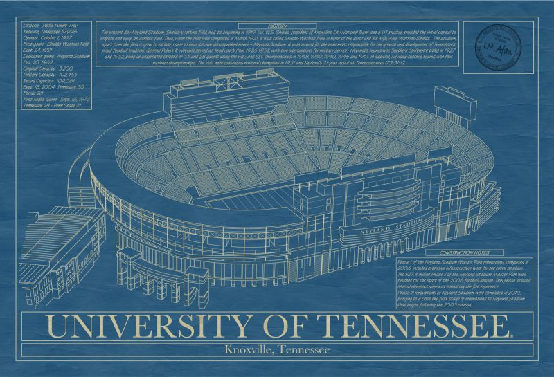 Tennessee - Neyland Stadium - Blueprint Art