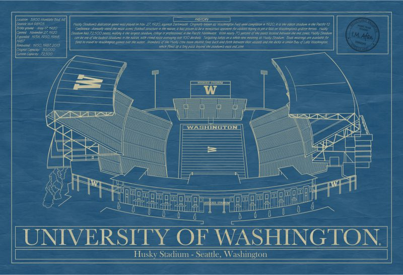 Washington - Husky Stadium - Blueprint Art