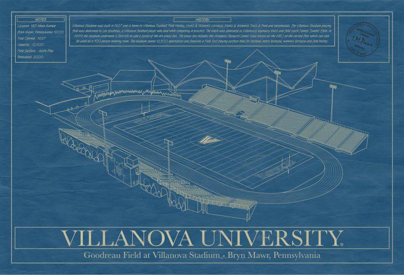 Villanova University - Villanova Stadium - Blueprint Art