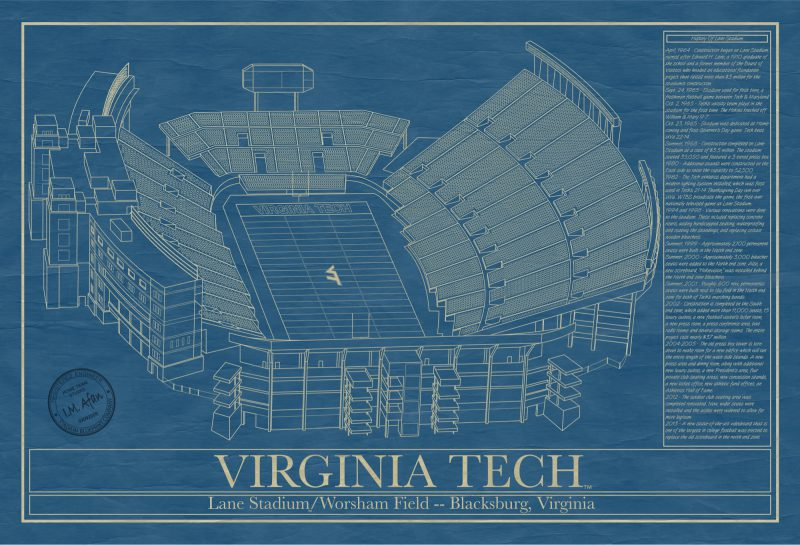 Virginia Tech - Worsham Field - Blueprint Art