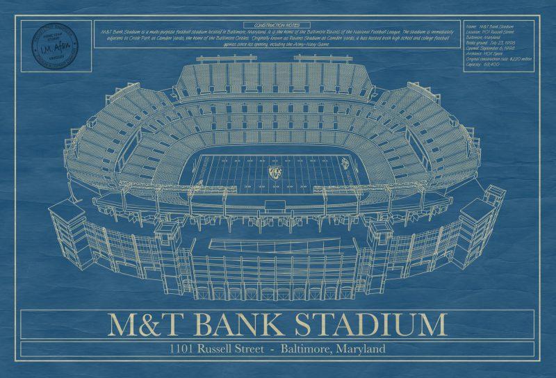 M&T Bank Stadium_art_blueprint_poster
