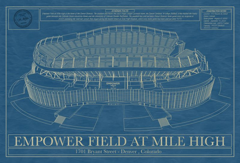 Denver - Empower Field at Mile High Stadium - Blueprint Art