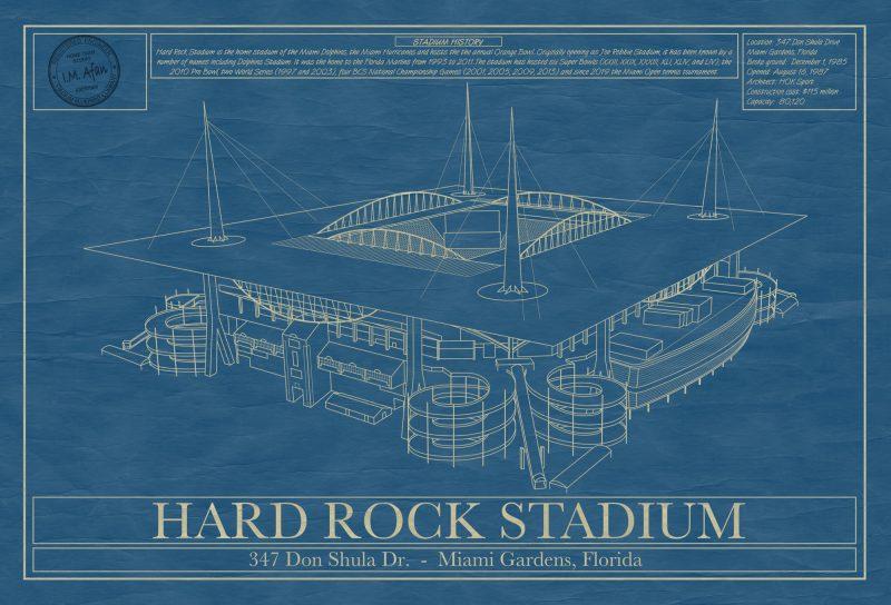 Miami - Hard Rock Stadium - Blueprint Art