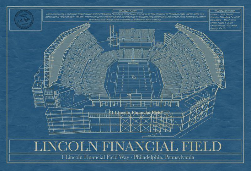 Philadelphia - Lincoln Financial Field Stadium - Blueprint Art