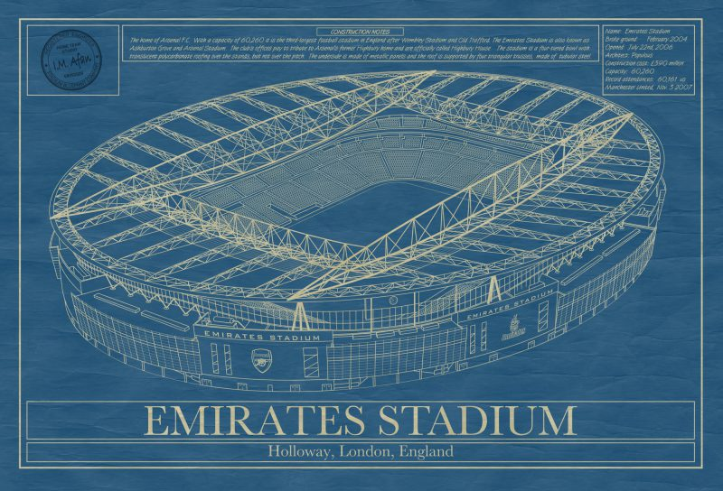 London - Emirates Stadium - Blueprint Art