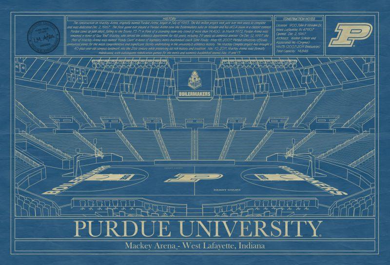 Purdue University - Mackey Arena - Blueprint Art