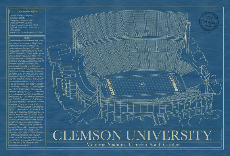 Clemson University - Memorial Stadium - Blueprint Art