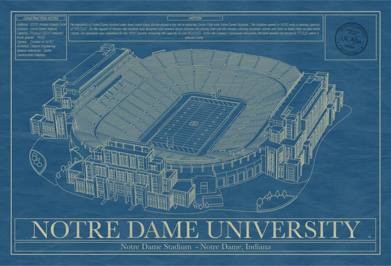 University of Notre Dame - Notre Dame Stadium - Blueprint Art