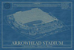 Kansas City Chiefs - Arrowhead Stadium - Blueprint Art