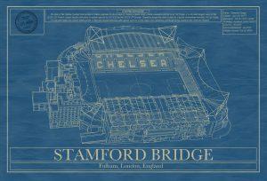 Chelsea - Stamford Bridge Stadium - Blueprint Art