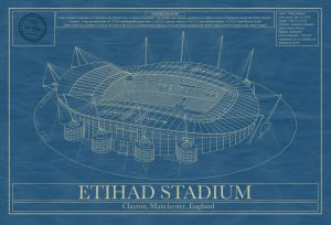 Manchester City - Etihad Stadium - Blueprint Art