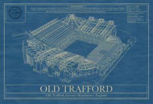 Manchester United - Old Trafford Stadium - Blueprint Art